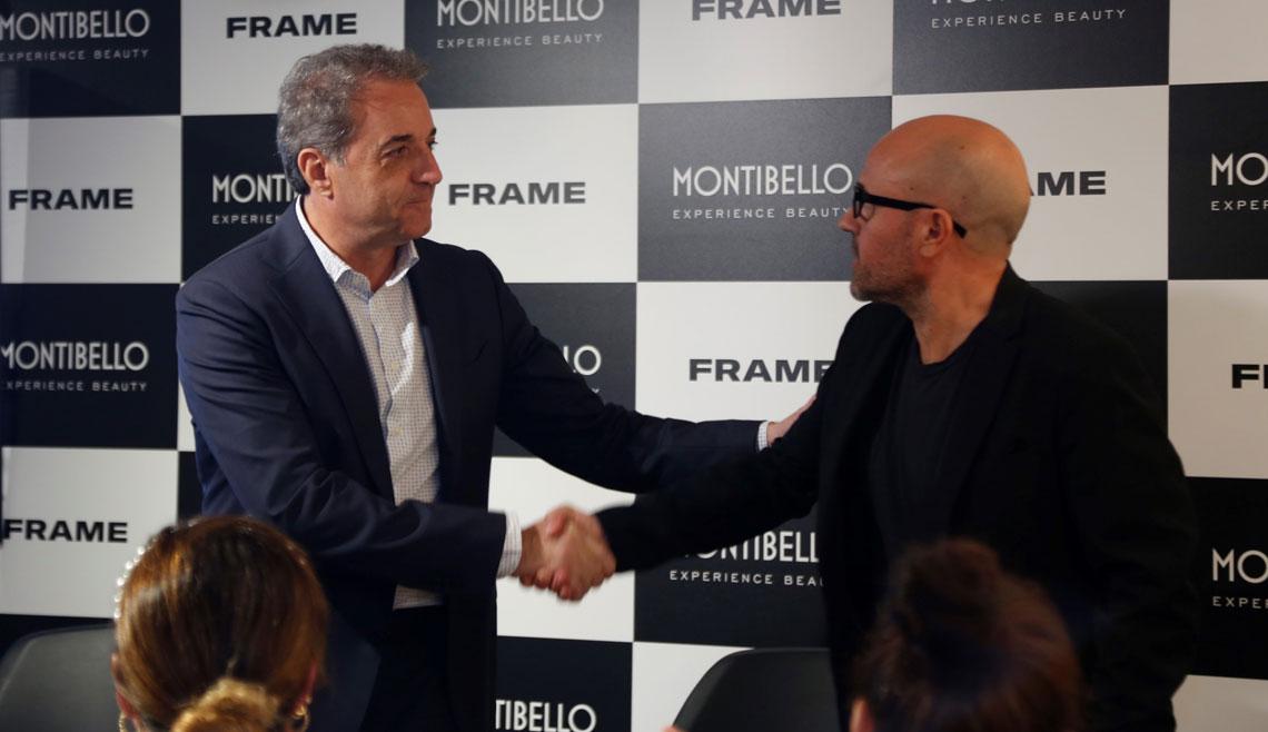 Marc Carol, CEO de Frame i Enric Aliberch de Montibello formalitzant l'acord entre les dues marques.